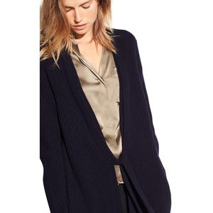 Vince. Long Tie front wool cashmere navy cardigan